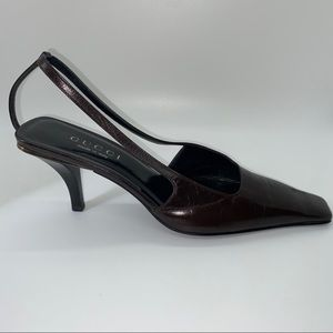 Gucci Chocolate Brown Slingback Pumps, Size 6.5